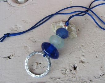 Necklace pendant large glass beads polished by the sea, silvered metal ring engraved, Royal Blue and silver satin cord, Navy necklace