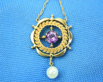 Antique 9ct Gold Amethyst & Seed Pearl Lavalier Pendant Necklace