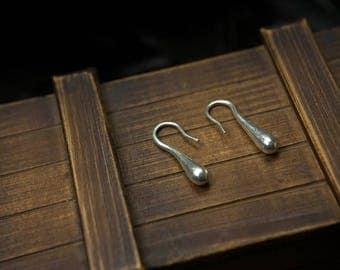 Silver pure 999 ethnic shape water drop earrings