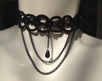 Black tatted cotton tatting spirit gothic lace Choker