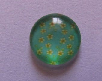 glass cabochon 12mm flower theme