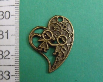 charm color bronze heart 30mmx23mm