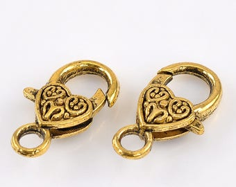 10 clasps lobster color antique gold 26x14mm