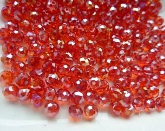 80 beads orange-red faceted Crystal iridescent 0.4 cm in diameter