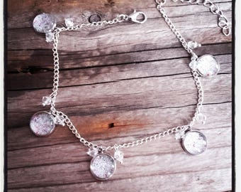 Anklet cabochon and silver spangle