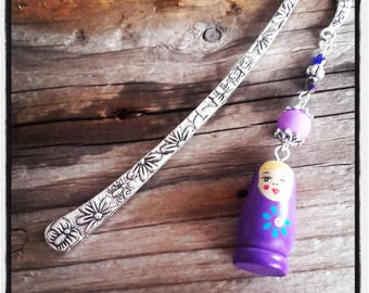 Silver Flower bookmark / Russian doll charm and Butterfly / purple beads