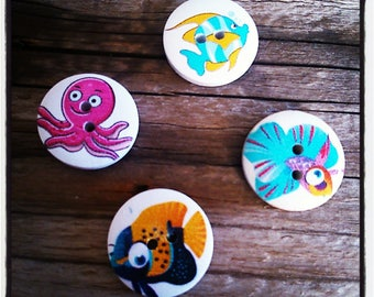 set of 4 fish and Octopus 20 mm round buttons