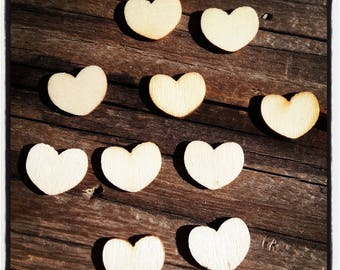 Set of 10 hearts blank 15 x 10 mm