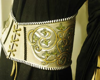 Corset belt medieval fantasy leather tooled: one piece of exceptional size 36/38