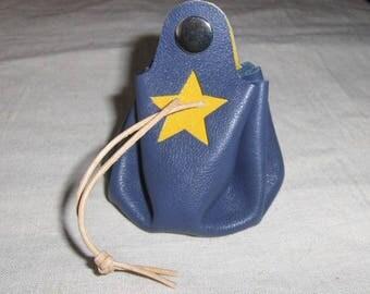 Worn purse wallet blue leather - yellow handmade