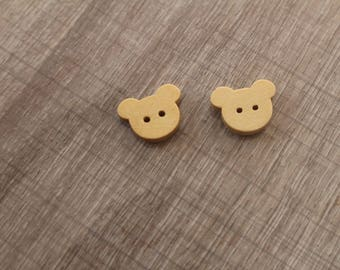 wooden bear buttons