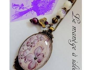"Pendant necklace ""old violet"" bronze metal"