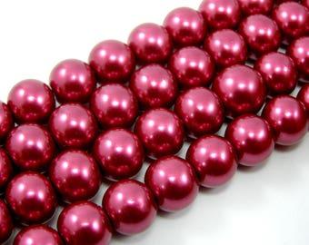 Beads 10 mm Burgundy glass Pearl set of 5
