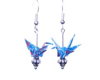 Short silver and blue patterned cranes origami earrings