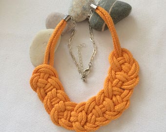 braided orange rope and chain necklace