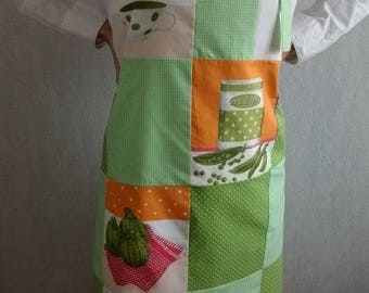 Apron with polka dots and dots, green and orange