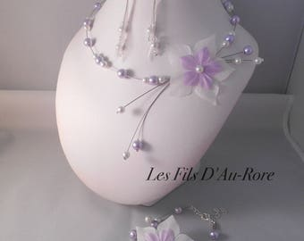 Set of 3 wedding pieces CELENA necklace, bracelet & earrings in purple & white
