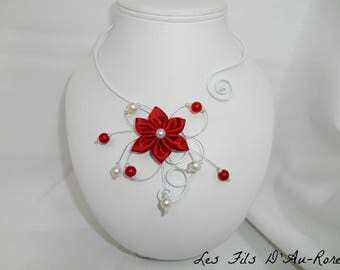 BELLA Flower necklace with Red satin flower