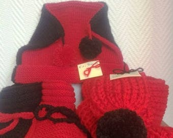 Red and black hand knitted set: hat, scarf and a pair of booties