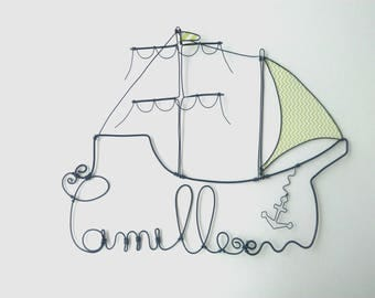 "Name personalized wire ""Pirate ship in sight!"" decorative wall cloud for nursery"