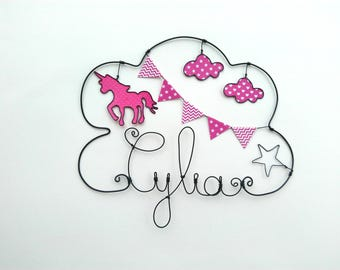 """""""Unicorn magic"""" personalized wire name decor for child's room wall cloud"""