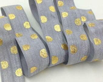 GREY polka dot gold / elastic / Headband width 15mm, cut 50 cm