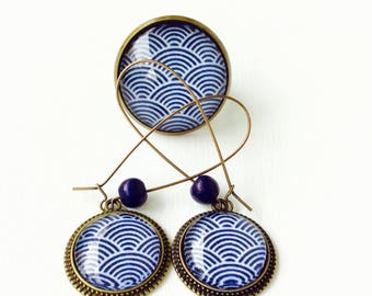 Bronze set - cabochon blue waves (earrings + large ring)