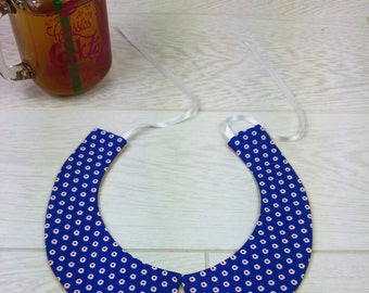 Peter Pan collar reversible blue flower white and mustard yellow with white dots