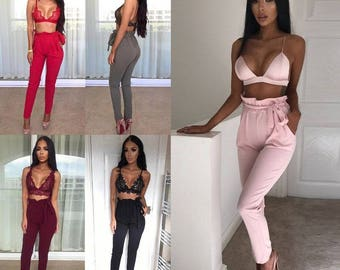 Women's Casual Chffion Harem Pants Elastic High Waist Cropped Length OL Trousers