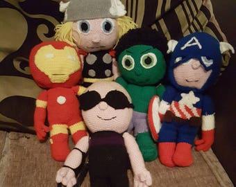 Hand crochet super hero thor