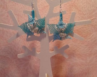 Earrings - blue orchids.