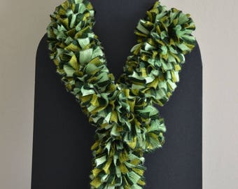 """Scarf """"ruffled"""" all in shades of green"""