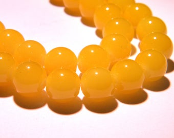 "10 glass beads 10 mm way ""jade"" - yellow bright PG243 18"