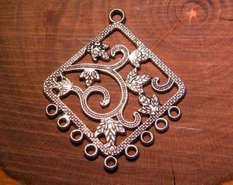 Pendant connector - motif oriental-48 mm-silver-PG102-13