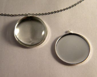 with 26 mm clear glass cabochon pendant Kit