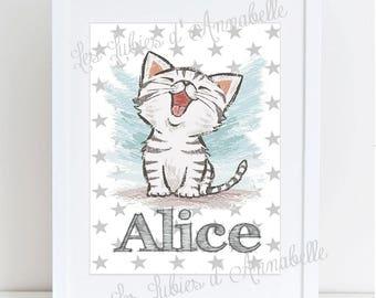 Affiche format au choix pour enfant/bébé personnalisable thème chaton