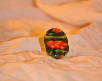 Ring oval multicolor (green orange black...)