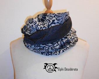 "Infinity scarf, snood""blue flower""tubular scarf woman very original"