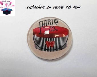 1 cabochon clear 18 mm fashion Paris theme