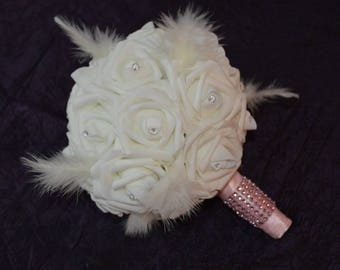 BRIDAL BOUQUET PINK FEATHERS AND WHITE