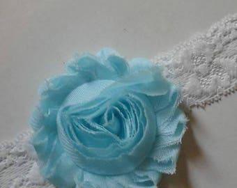 Aqua and white shabby chiffon lace headband