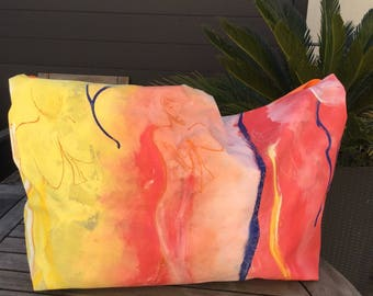 """Tote obersize yellow and orange """"joie de vivre"""" painted as a table"""