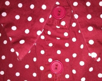 Red with white polka dots button up