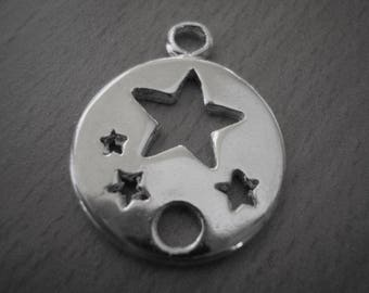 Round pendant 20 mm silver plated stars