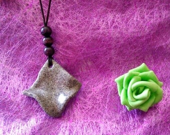 glittery gray polymer clay necklace