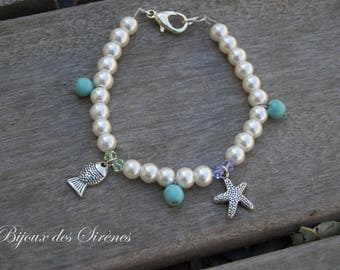 Fish sea star and turquoise bracelet