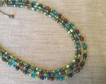 Bohemian necklace, MULTISTRAND, multicolor.