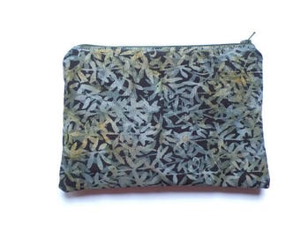 Zippered Cosmetic Bag, Makeup Pouch, Toiletries Purse, Pencil Case, in Black Batik Leaves Fabric, Fully Lined