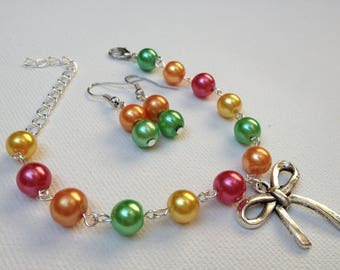 Bracelet sour candy bow earrings available and glass beads