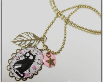 Glass cat, retro and vintage bronze and pink cabochon necklace